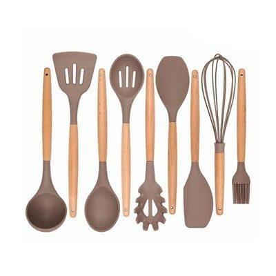 Kitchen Utensils - Cooking Utensil - 9-piece Silicone Utensil Set Spatula S E7V5