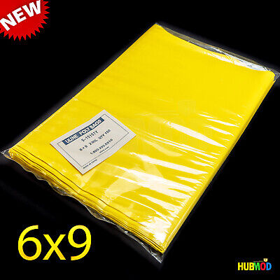 """NEW 6"""" x 9"""" Flat Poly Bags, 2 Mil, Yellow Color 100 Pack, S-15157Y FREE SHIPPING"""