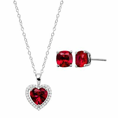 Created Ruby & White Sapphire Heart Pendant & Earring Set in Sterling Silver