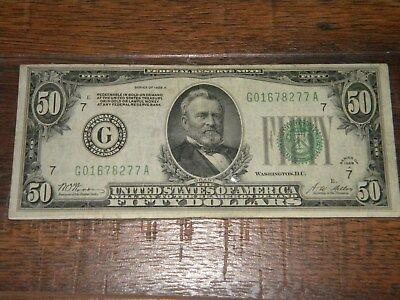 Series 1928 A Lime Green Seal $50 Dollar Bill, Redeamable in GOLD