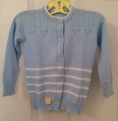 vintage 1950's baby girl acrylic sweater, pale blue with pink flowers nwt