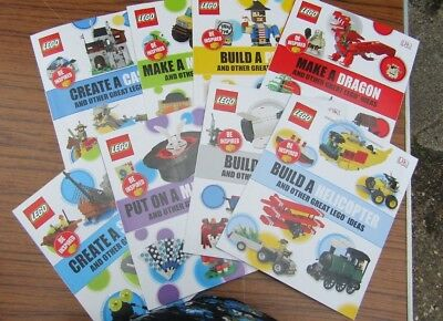 8 x Brand New LEGO Play Be Inspired Books - Rocket, Dragon, Castle, Pirate etc