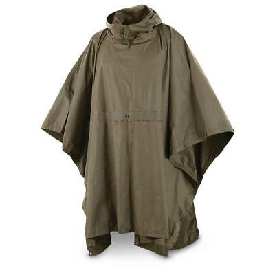 German army wet weather Rain poncho waterproof olive hooded  shelter cape