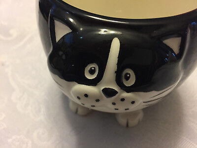 Pier One Imports Chubby Cat Face Coffee Mug 3D Tea Cup Hand Painted Black White