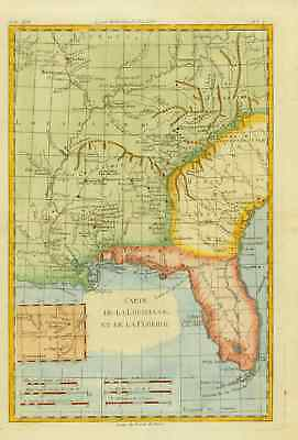 Carte de La Louisiane et de La Floride - Louisiana - Florida - Georgia