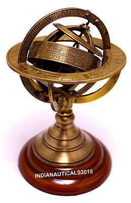 Antique Nautical Brass Sphere Armillary Collectible Wooden Base Office Decor
