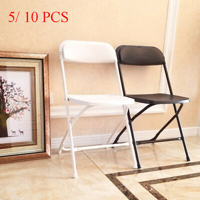 5/ 10 PACK Plastic Folding Chairs Commercial Patio Stackable Party Wedding Event