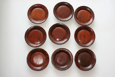 9 Pcs Antique Japanese Chinese Wooden Carved Plate - Marks