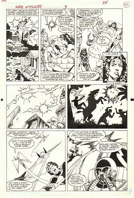 Wonder Woman : War Of The Gods #3 Page 24 Original Art By George Perez RARE