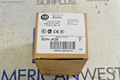 Allen Bradley 800H-Jr2B Ser F 3 Position  Maintained Selector Switch