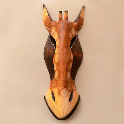 Vintage Solid Wood African Giraffe Animal Mask Wall Hanging Home Decor Souvenir