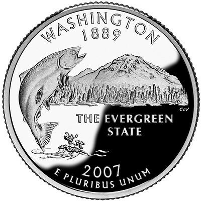 2007 S Silver Gem Proof Washington State Quarter 90% Silver