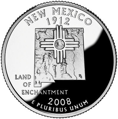 2008 S Silver Gem Proof New Mexico State Quarter 90% Silver