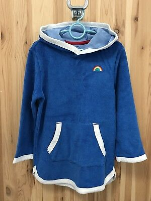 Mothercare's Little Bird Hooded Towelling Throw On Poncho. Age 3-4 Years. Blue