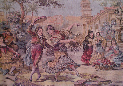 Vintage Woven Tapestry Spanish Dancing Women Horses Wall Hanging
