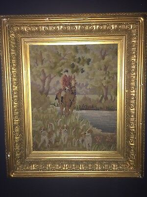 1903 Solid Antique Very Large Gold gilt Picture Frame hunt scene horse Tapestry