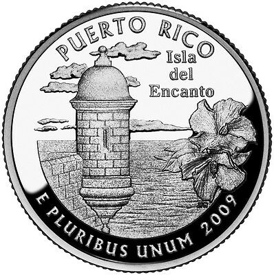 2009 S Silver Gem Proof Puerto Rico Territory State Quarter 90% Silver