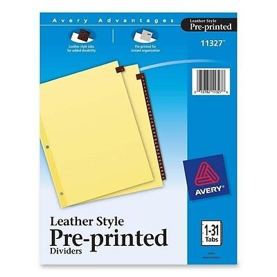 """Avery Red Lthr Tab Dividers Printed 1-31 8-1/2""""x11"""" 31 Tabs Buff 11327"""