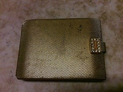 """Vintage Mid Century Gold Tone Powder Makeup Compact Case """" Gay Whisper"""""""