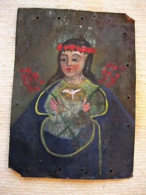 Original Antique Retablo On Tin With Image Of Our Lady Of Peace