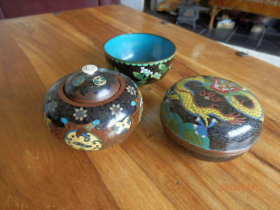 Three pieces of early Cloisonne bowls- Imperial Dragon & Japanese