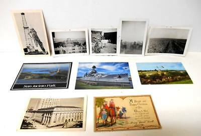 Vintage Lot of 11 - 6 old POSTCARDS + 5 old B&W PHOTOS - 1938, 1950's