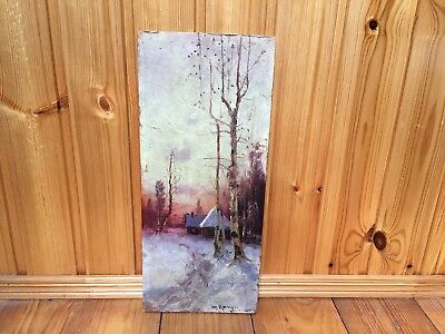 Antique Russian Oil Painting.Winter Landscape. Tsigun?Early 20th century.