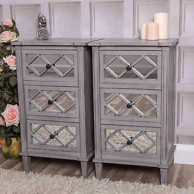 Pair of Grey Mirrored Bedside Tables Chest Cabinet Contemporary Bedroom Lounge