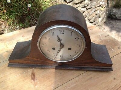 1930s Oak Cased Mantle Clock  8 day moment hour chimer VGC believed to be workin