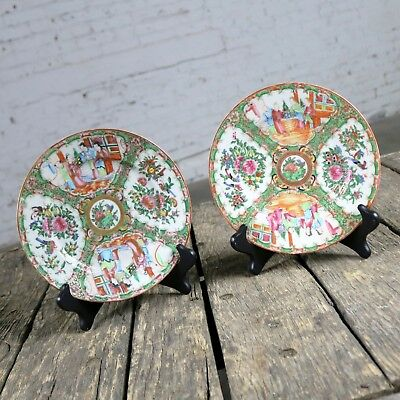 ON SALE! Antique Chinese Qing Rose Medallion Porcelain 8.5 Inch Plates Set of 2
