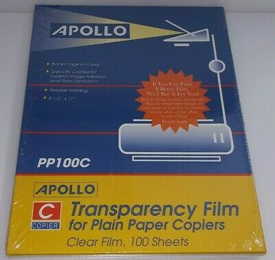 Apollo Transparency Film for Plain Paper Copiers 100 Sheets PC100C Sealed