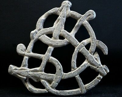 Ancient Viking Hammered Silver Amulet. 3 Beasts in Twisted Norse Knot 950-1000Ad