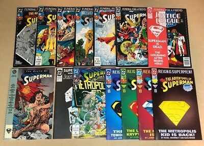 Huge Death Of Superman Lot Of 13 Justice League Reign Of Action Comics TPB 76 77
