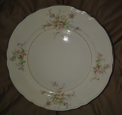 Vtg Set of 10 Edwin Knowles KNO673 Dinner Plates Pink Lavender Roses Embossed EX