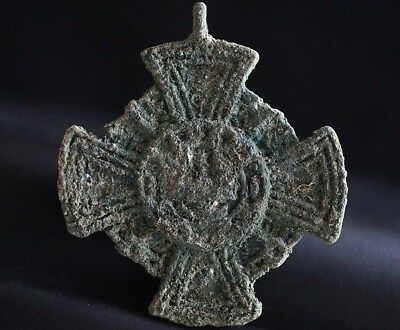 Ancient Viking Bronze Cross. Stunning Norse Amulet Pendant, circa 950-1000 Ad.