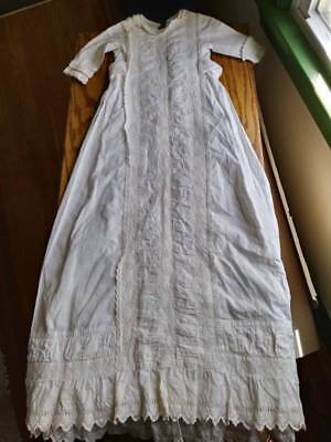"Antique/ Late 19th Century Christening Gown. 38.5"" Long. Whilte Cotton"
