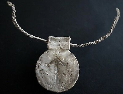 Ancient Viking Silver Amulet. Rare Pendant with Norse Runic Symbol, c 950-1000Ad
