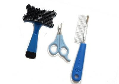 Pet Grooming Set 3 Piece, Brush, Comb, Nail Clippers