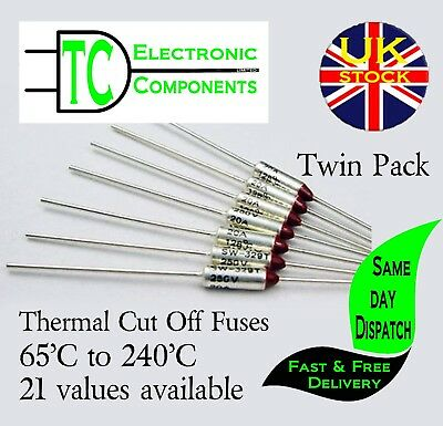 Thermal Fuses 250V 10A Aluminium Cut Off 65'C to 285'C  35 values available