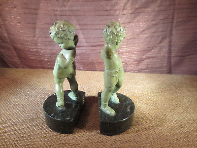Antique Ovington's NY Bookends - Boy Pulling on Suspenders - Metal & Marble
