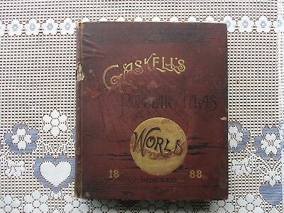 NICE Antique 1888 GASKELL'S Family World Atlas with Hand-Colored Maps