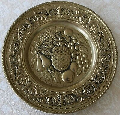 "Vintage Copper or Brass Pineapple Pear Grape Apple Plate 12"" Round England decor"