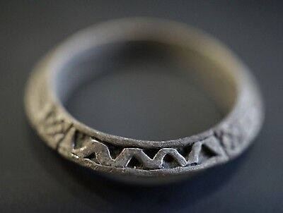 Ancient Viking Hammered Silver Finger Ring, circa 950-1000 Ad. Richly Decorated
