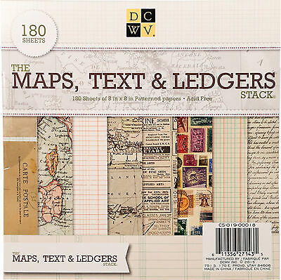 """DCWV Single-Sided Cardstock Stack 8""""X8"""" 180/Pkg-Maps, Text & Ledgers, 60 Designs"""