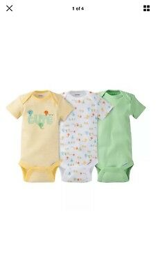 Gerber Boy Or Girl Unisex 3-Piece Yellow/Green Onesies Size NB BABY CLOTHES GIFT