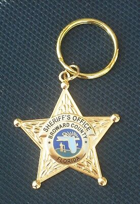 Broward Sheriff Florida Fla State of FL Police Mini Badge Gold Star Key Chain