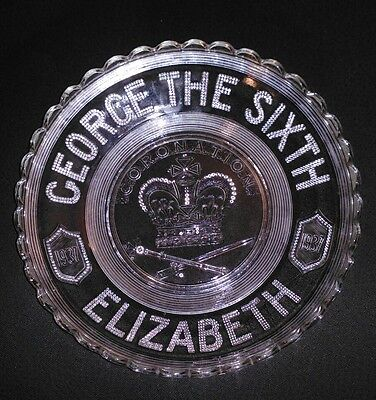 King George the Sixth Coronation Bowl, Dated 1937, Pressed Glass Dish