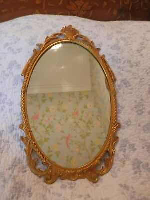 Vintage Cast Metal Oval Wall Mirror Antique French Style Floral
