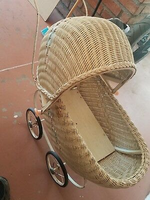 Antique Wicker Baby Buggy Stroller Carriage Doll Old Vintage / blue and pink