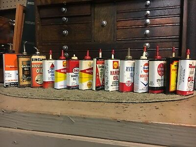 14 Vintage handy Oiler oil can lot Sinclair shell Kendall gulf sohio  enco more